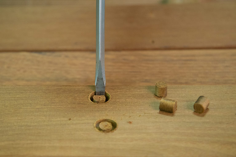 Cutting hardwood plugs - Step 4