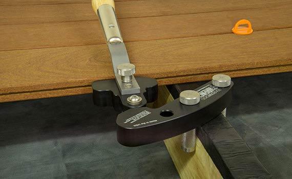 Straightening terrace plank using Hardwood Wrench™
